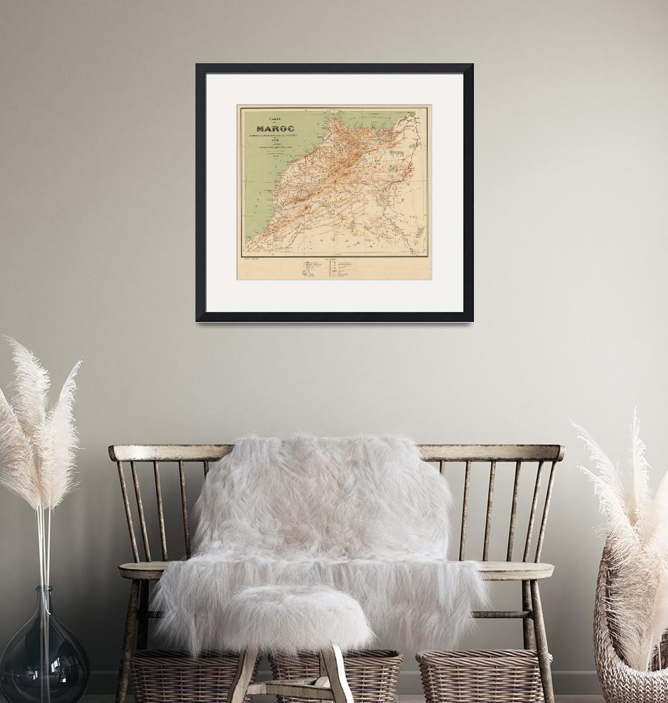 """""""Vintage Map of Morocco (1912)""""  by Alleycatshirts"""