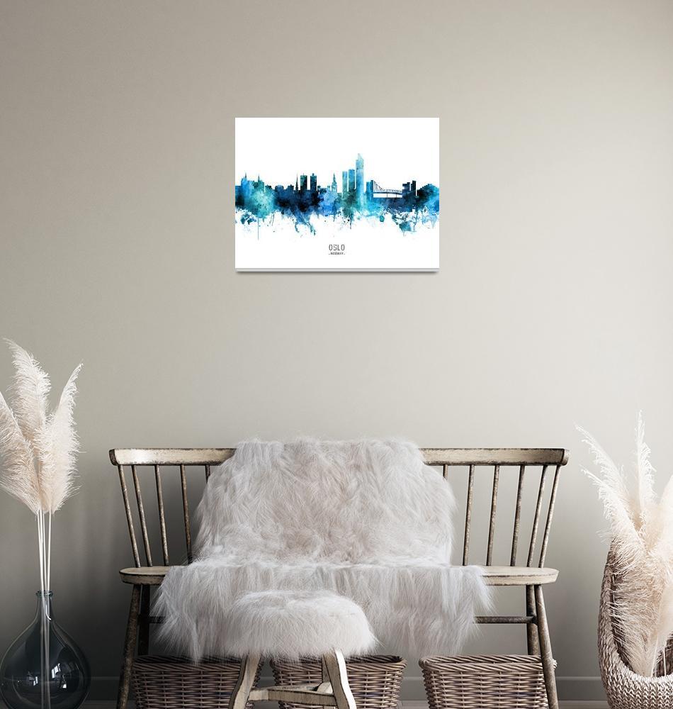 """Oslo Norway Skyline""  (2020) by ModernArtPrints"