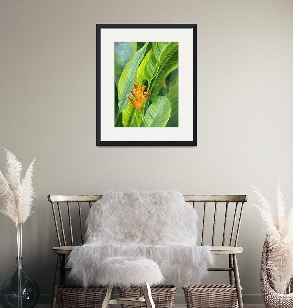 """""""Red and Gold Heliconia with Background""""  (2012) by Pacific-NW-Watercolors"""