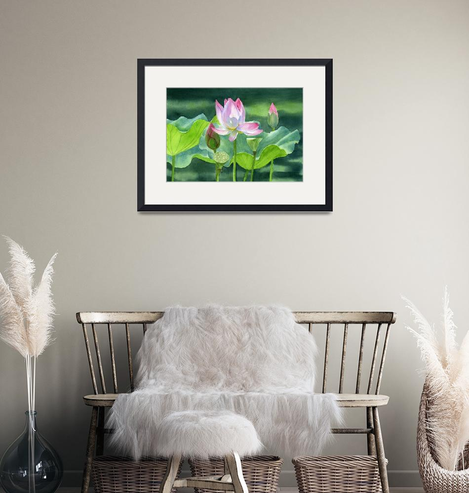 """Pink Lotus Blossom with Bud and Seed Pods""  (2015) by Pacific-NW-Watercolors"
