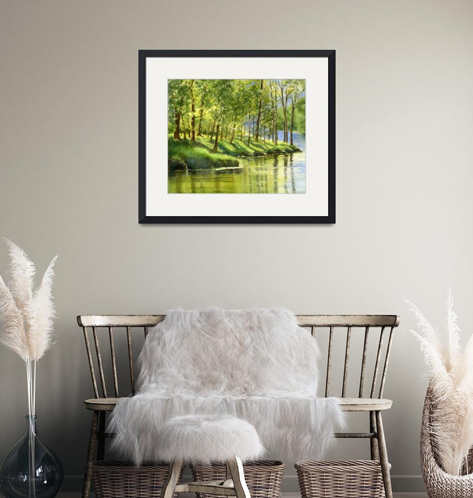 """""""Spring Green Trees with Reflections""""  (2009) by Pacific-NW-Watercolors"""