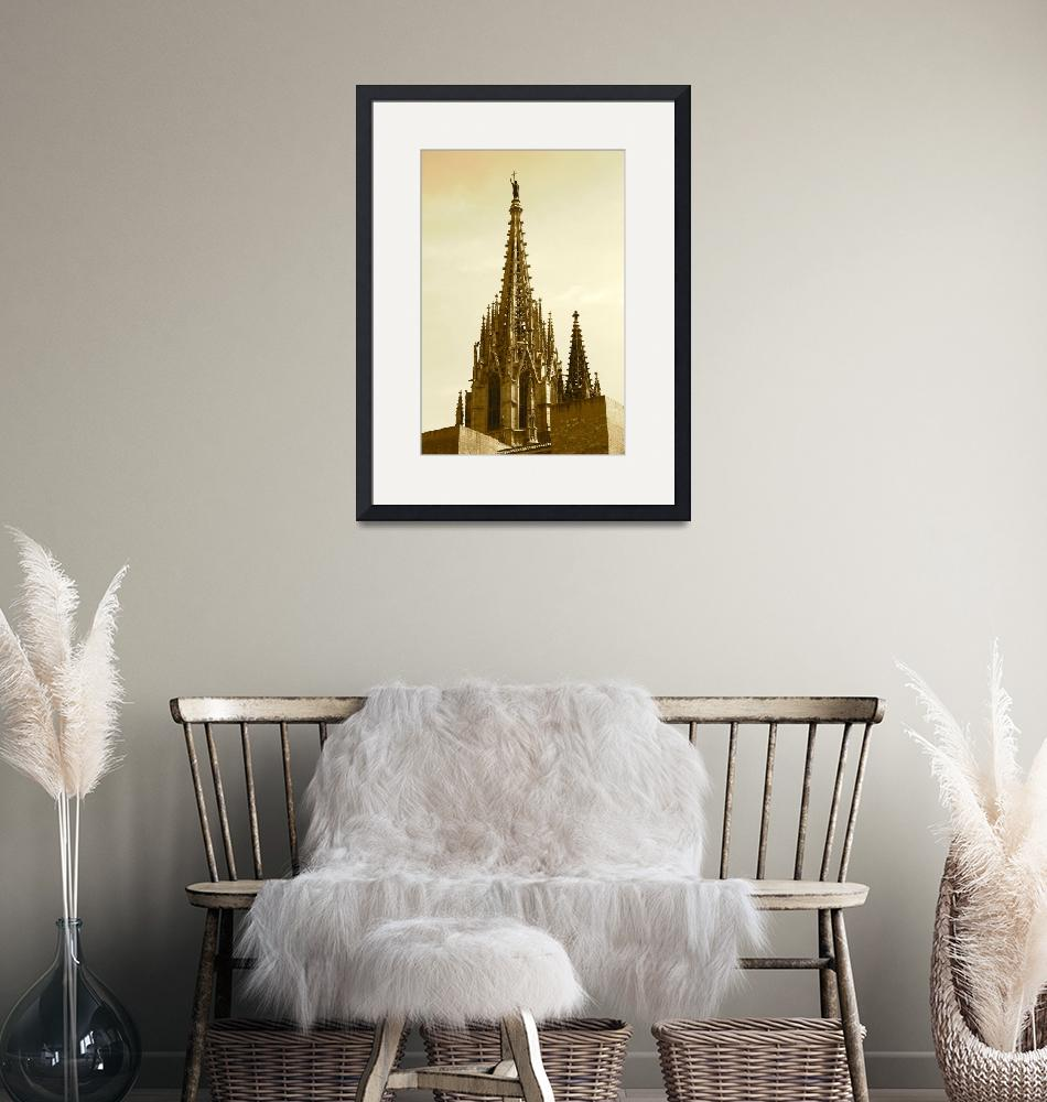 """""""Barcelona Cathedral Spires in Sepia""""  (2014) by Groecar"""