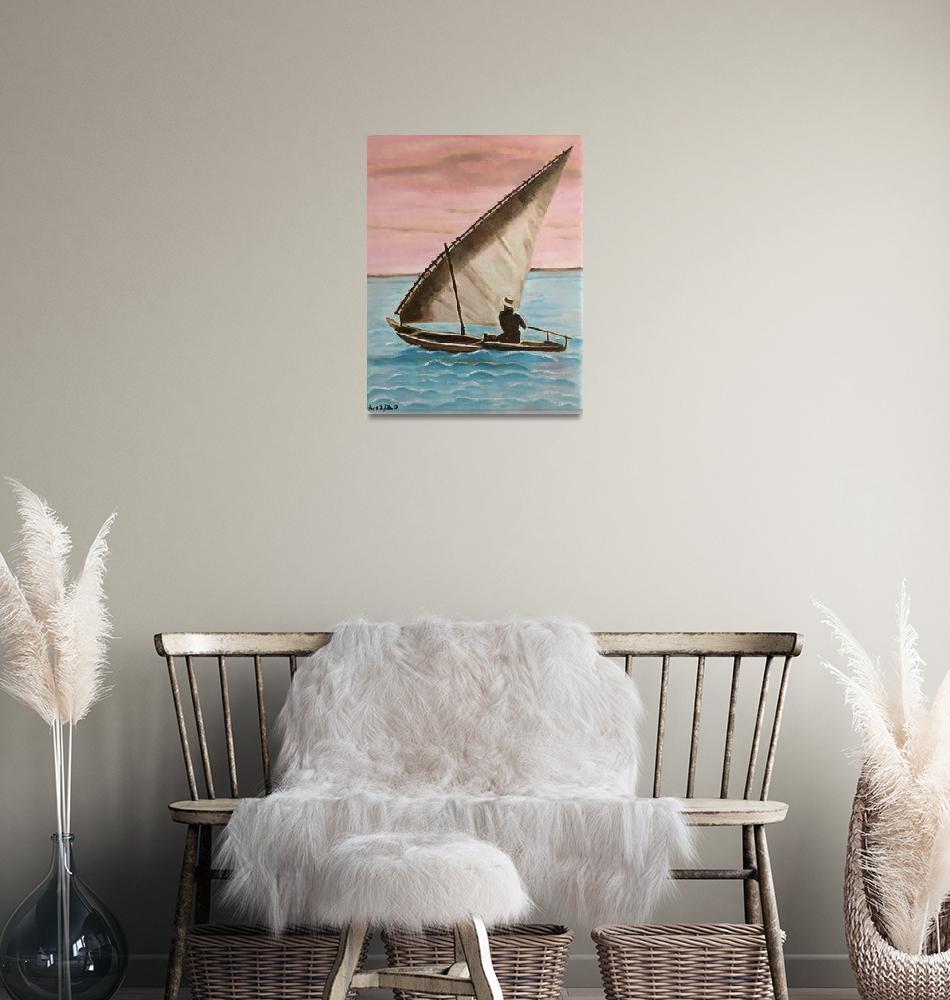 """sailboat zanzibar""  (2020) by rosamansell"