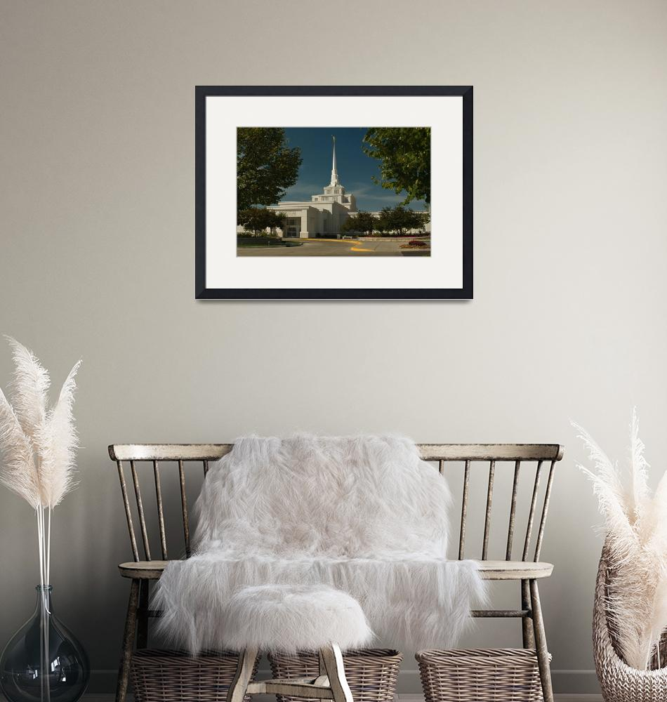 """""""Billings MT LDS Temple framed by trees""""  (2010) by jorgy"""