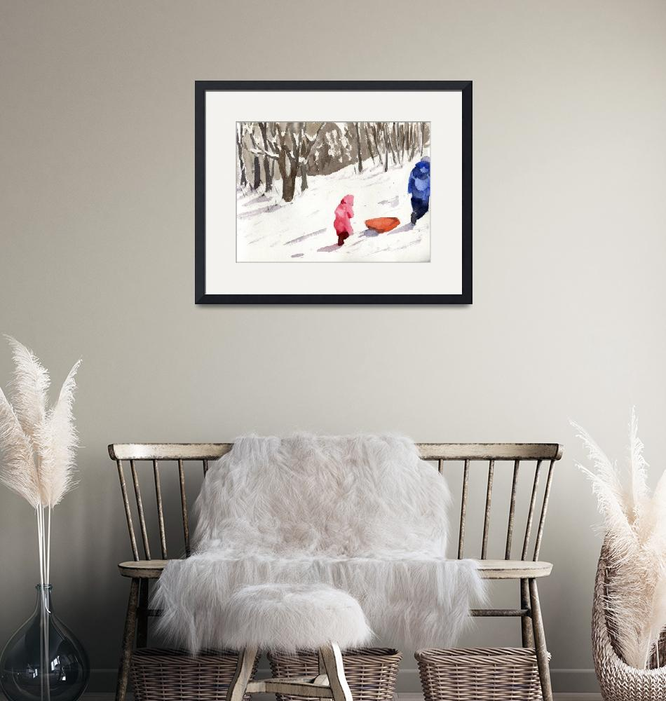 """""""Winter Snow Sled Scene, parent and little girl""""  (2013) by schulmanart"""