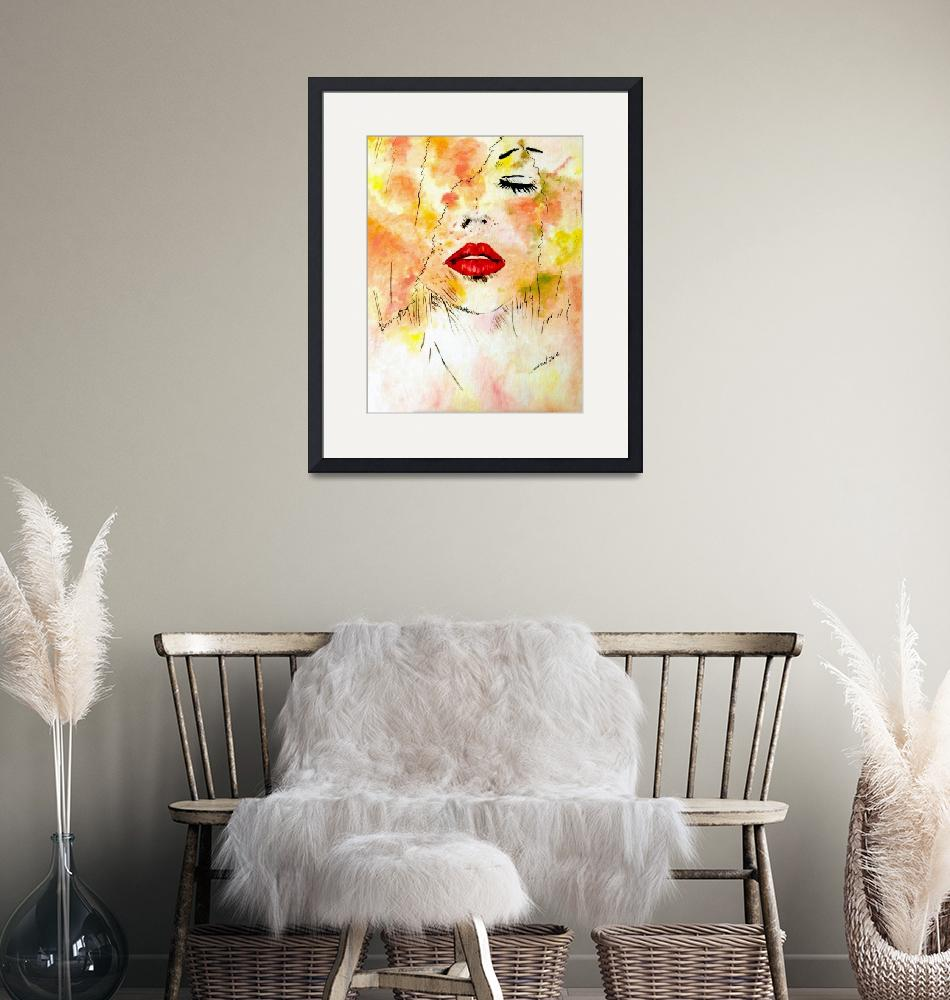 """""""Lady in Red Lips"""" (2014) by cneartgallery"""