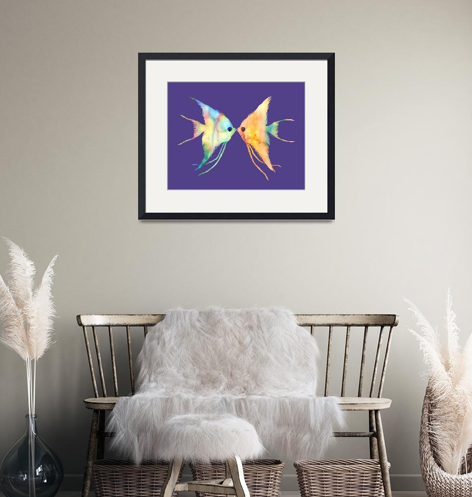 """Angelfish Kissing on Ultra Violet""  by HaileyWatermedia"