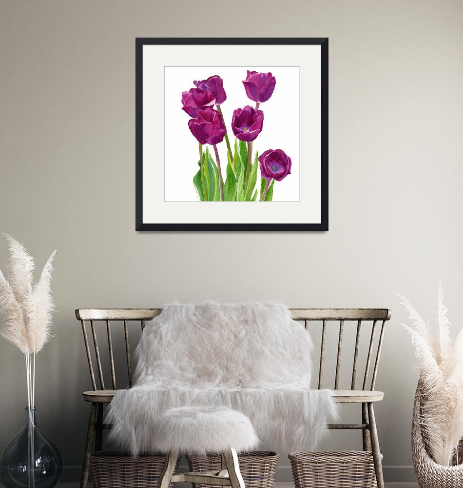 """Purple Tulips White Background square design""  (2015) by Pacific-NW-Watercolors"