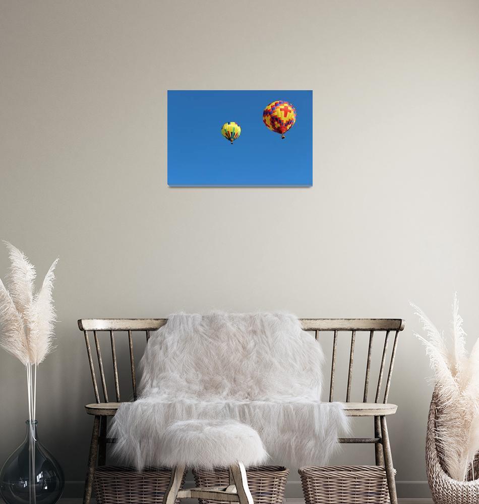 """Two Yellow Hot Air Balloons Horizontal""  (2015) by KsWorldArt"