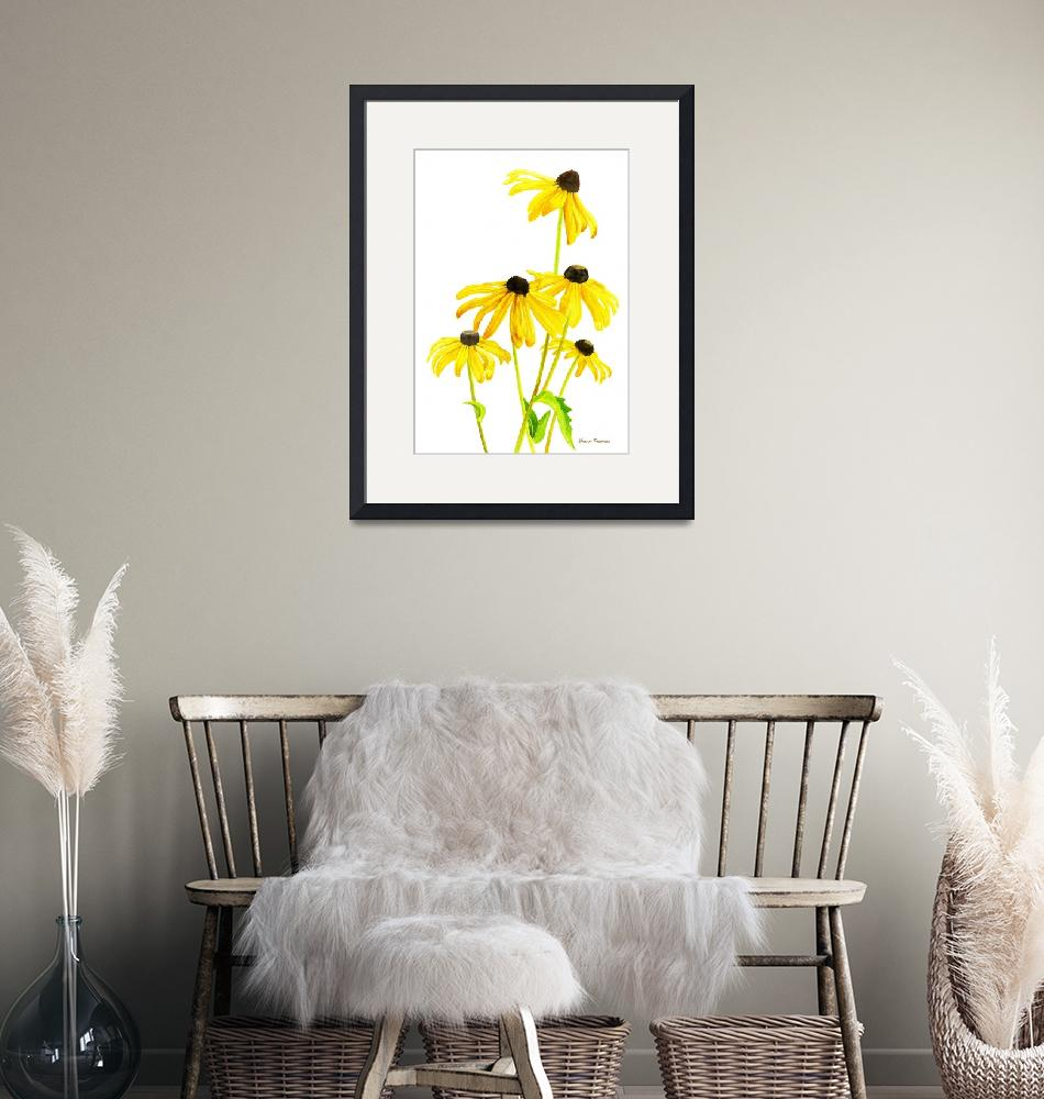 """""""Yellow Black Eyed Susans with signature"""" (2015) by Pacific-NW-Watercolors"""