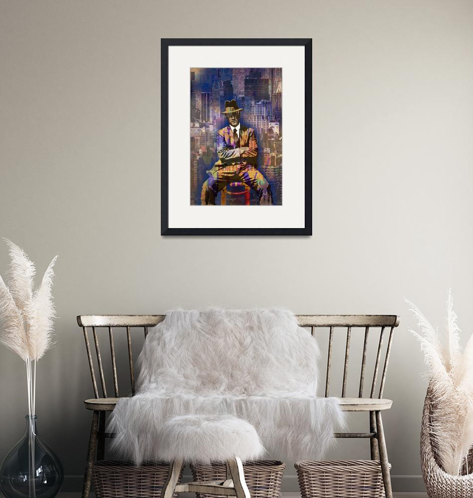 """""""New York Man Seated City Background 1""""  by RubinoFineArt"""