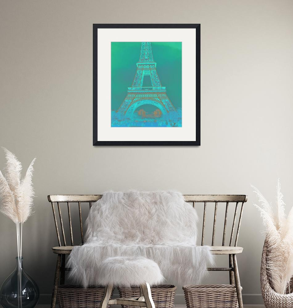 """""""Eiffel Tower in Turquoise""""  (2016) by CoraNiele"""