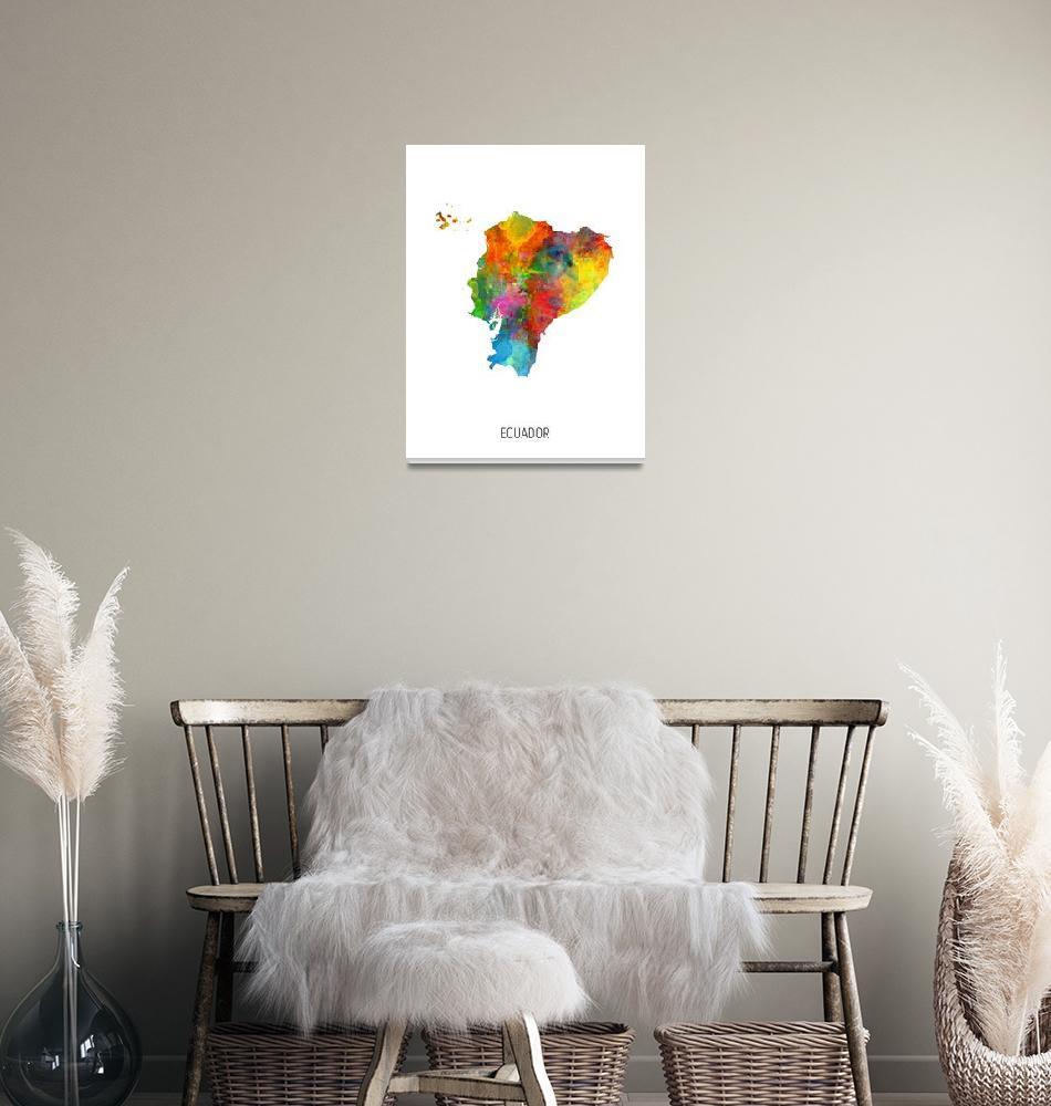 """""""Ecuador Watercolor Map""""  (2019) by ModernArtPrints"""