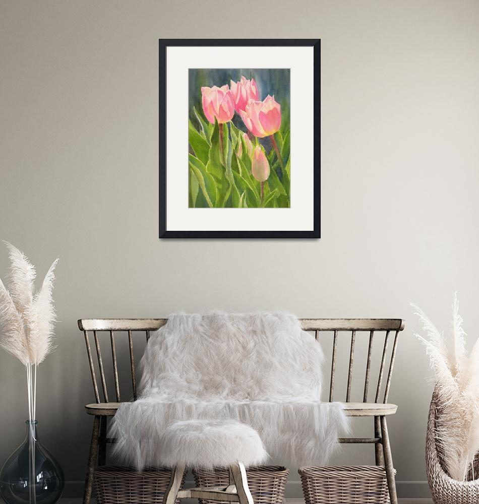 """""""Peach Colored Tulips 1""""  (2011) by Pacific-NW-Watercolors"""