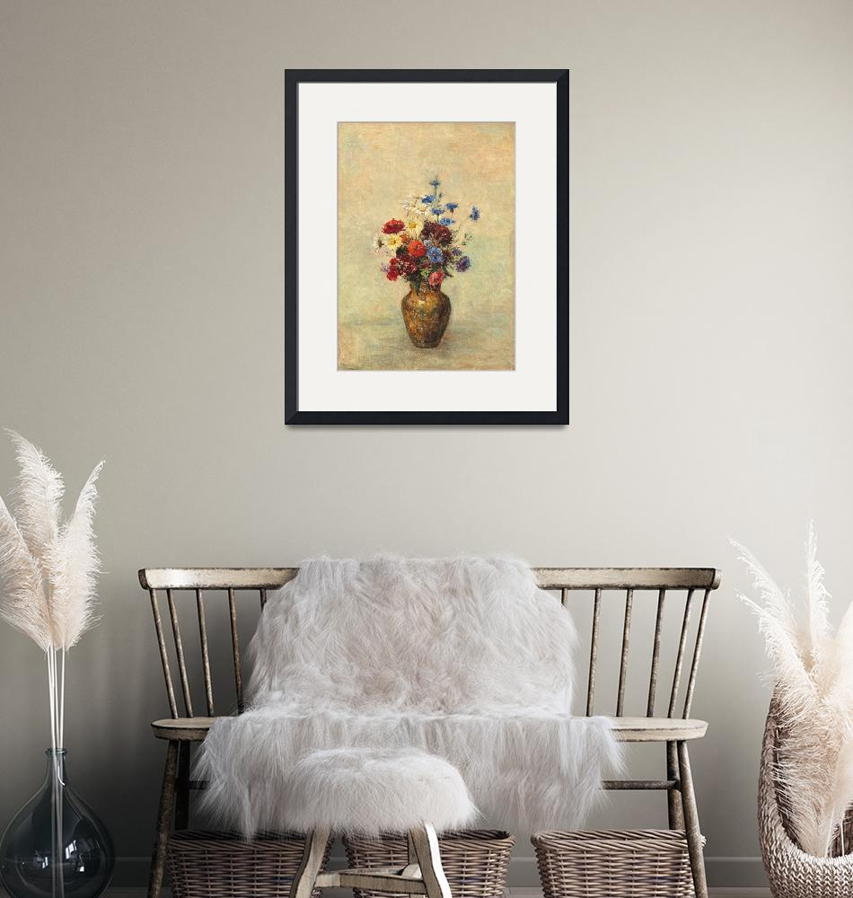 """Flowers in a Vase by Odilon Redon""  by FineArtClassics"