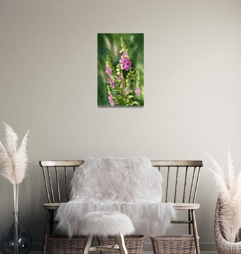 """""""Foxgloves with background""""  (2012) by Pacific-NW-Watercolors"""
