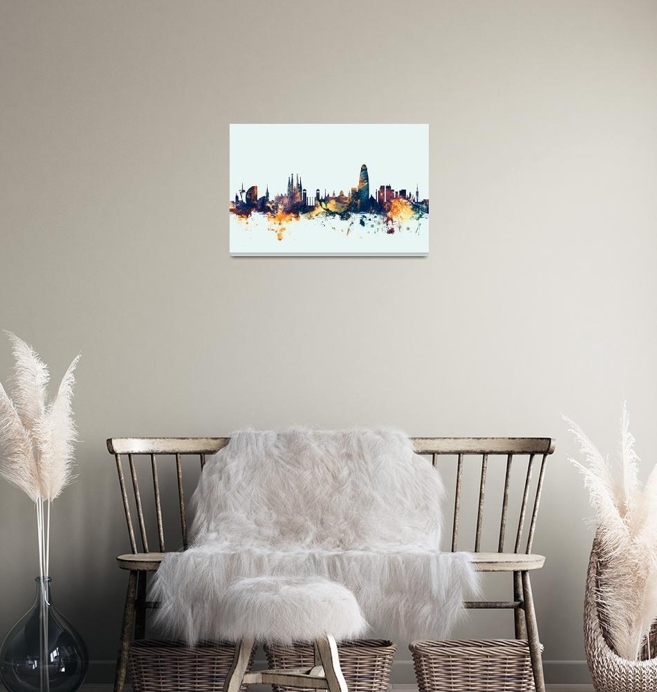 """Barcelona Spain Skyline""  (2015) by ModernArtPrints"