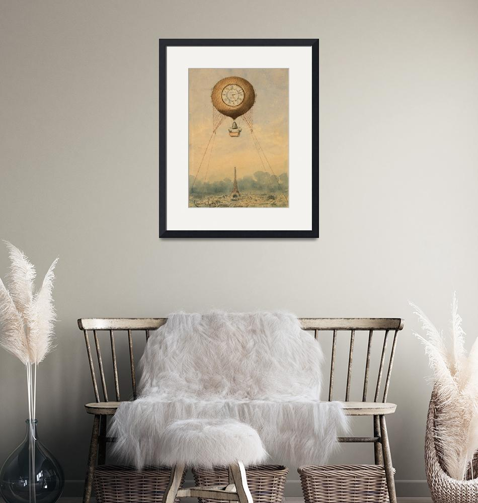"""""""Balloon with clock face over Eiffel Tower""""  by artpicss"""