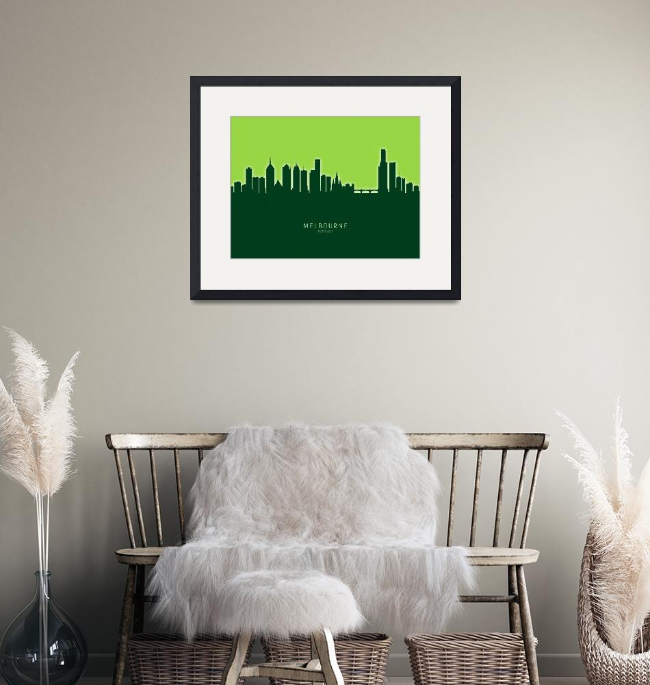 """Melbourne Australia Skyline""  (2020) by ModernArtPrints"