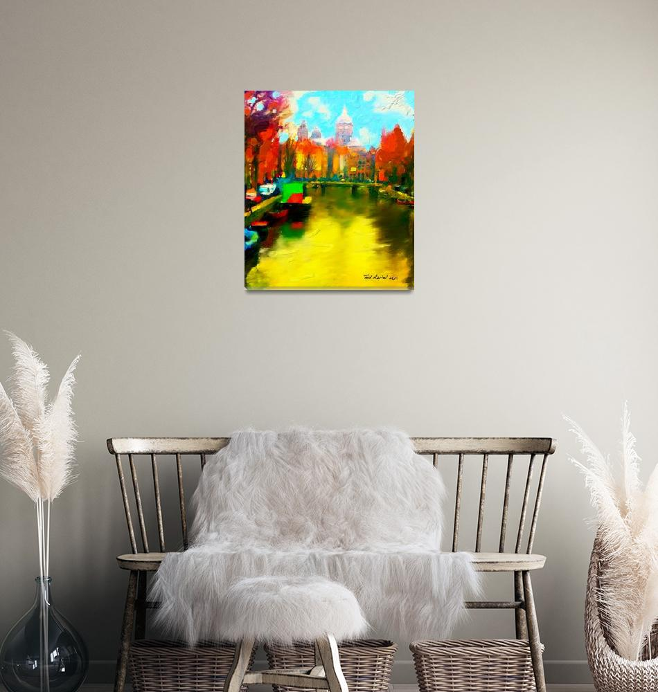 """""""Amsterdam Canal, Digital oil painting""""  (2011) by tedazrielgraphicart"""