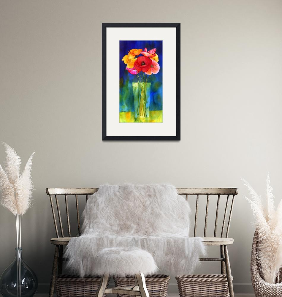 """Poppies in Vase""  (2011) by HaileyWatermedia"