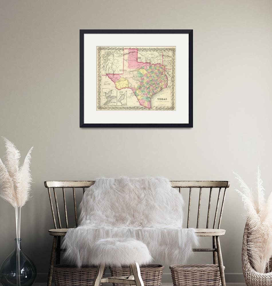 """""""Vintage Map of Texas (1856)"""" by Alleycatshirts"""