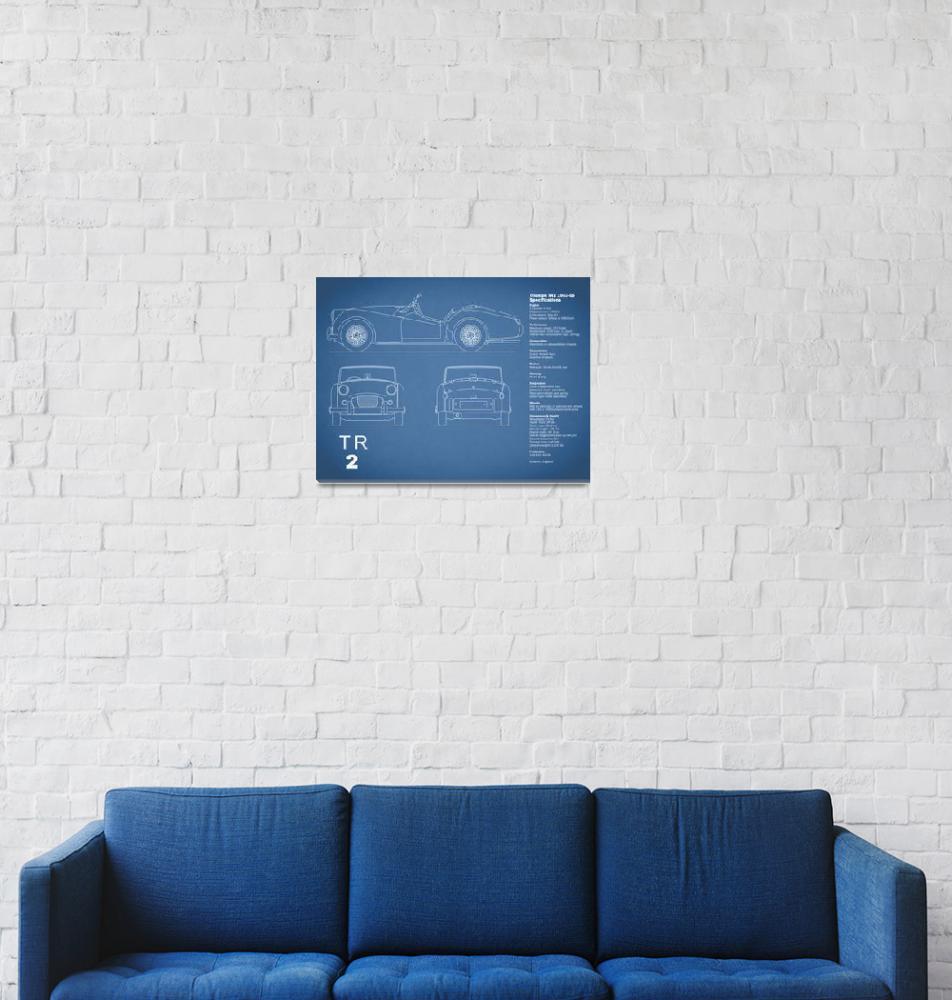 """Triumph TR2 Blueprint""  (2015) by mark-rogan"