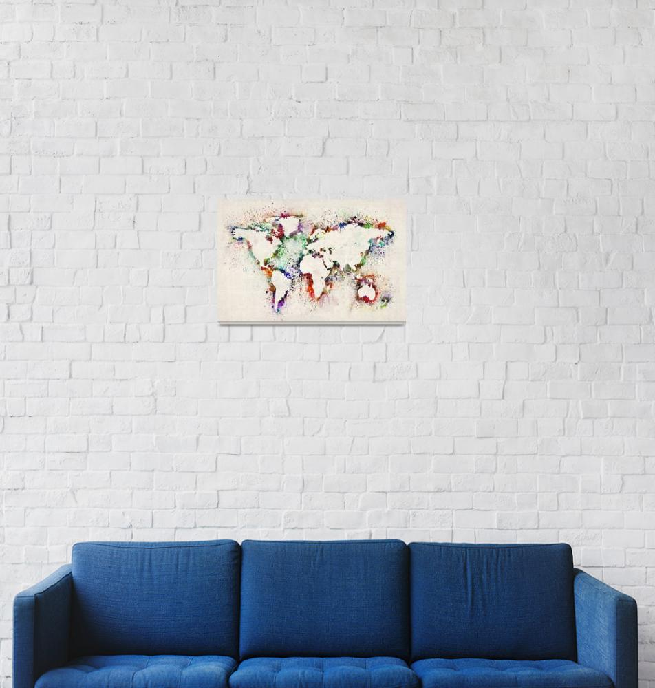 """Map of the World Paint Splashes""  (2012) by ModernArtPrints"