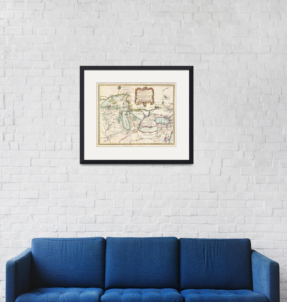 """Vintage Map of The Great Lakes (1755)""  by Alleycatshirts"