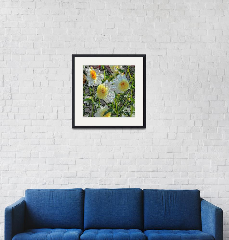 """""""White and yellow dahlias""""  (2011) by judithschmidt"""