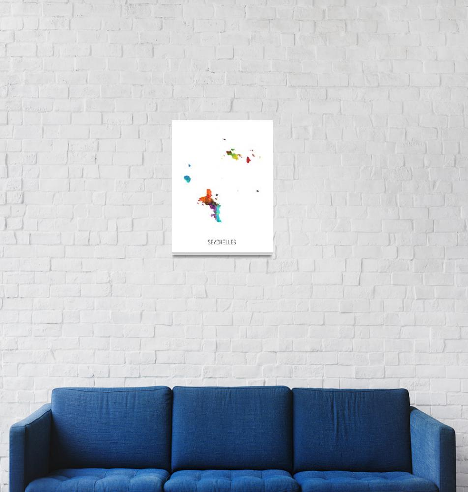 """Seychelles Watercolor Map""  (2019) by ModernArtPrints"