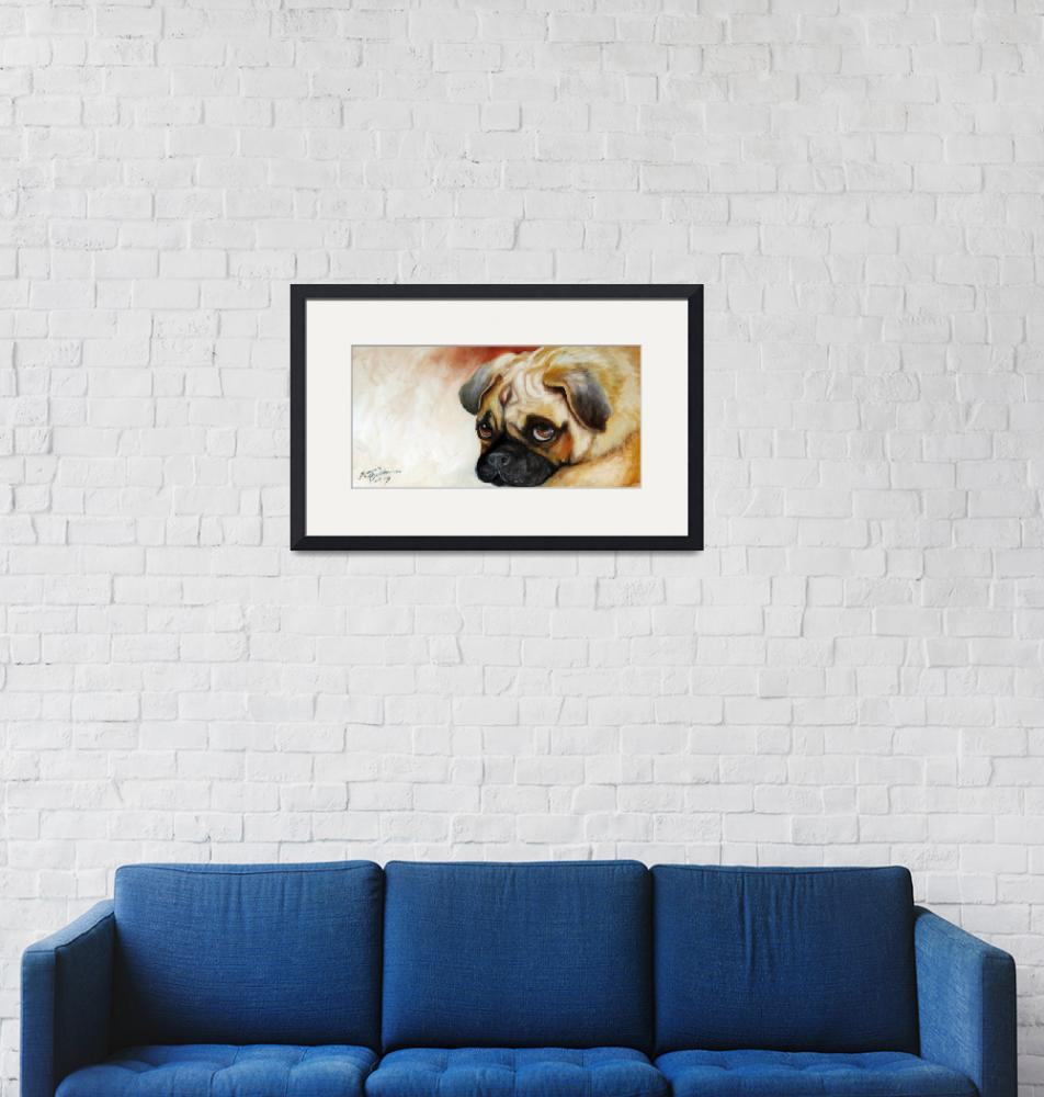 """CUTIE PIE PUG""  (2009) by MBaldwinFineArt2006"
