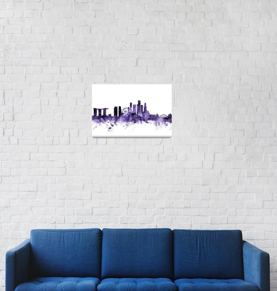 """Singapore Skyline""  (2018) by ModernArtPrints"