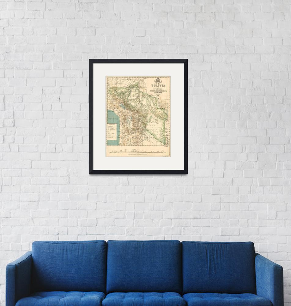 """""""Vintage Map of Bolivia (1905)""""  by Alleycatshirts"""