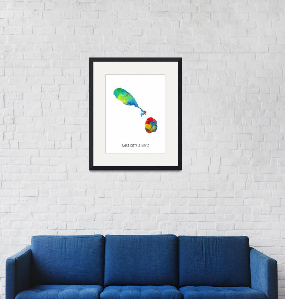 """Saint Kitts & Nevis Watercolor Map""  (2019) by ModernArtPrints"