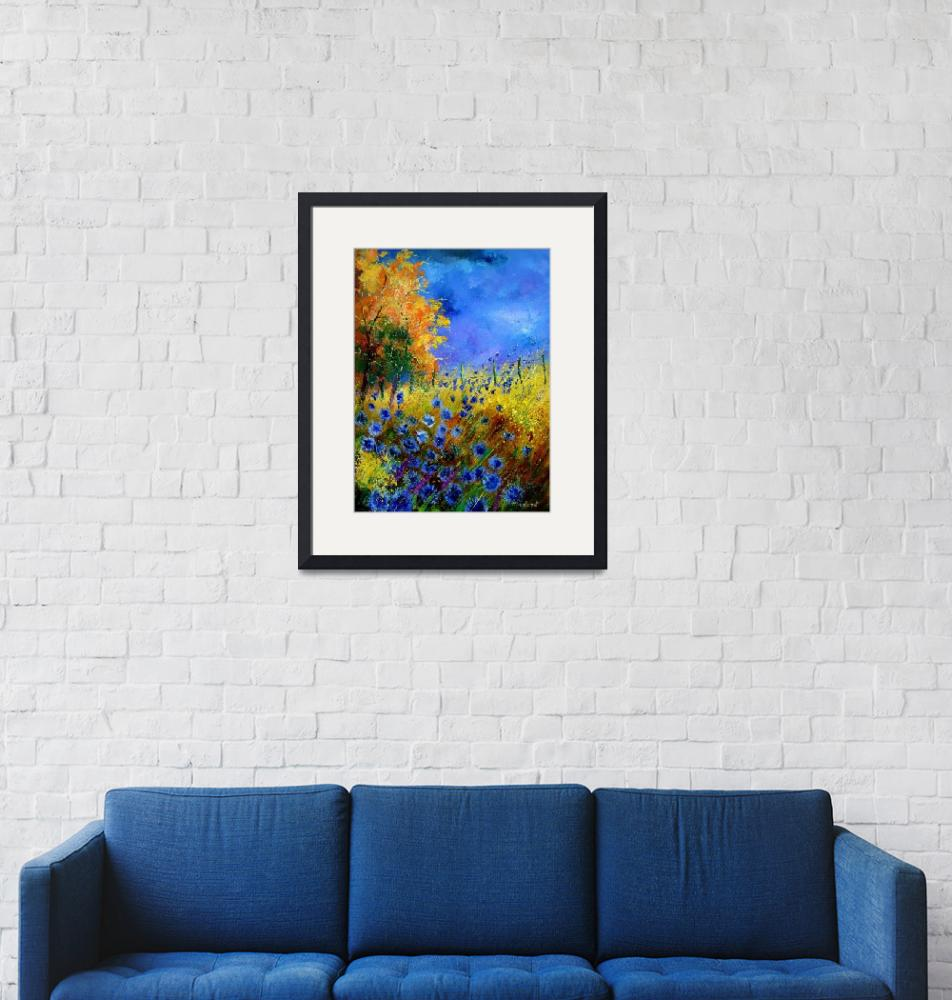 """""""Blue poppies and orange tree""""  by pol"""