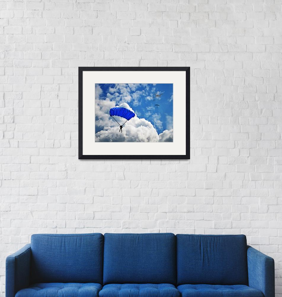 """Group of Skydivers Among Puffy White Clouds""  (2019) by ElainePlesser"