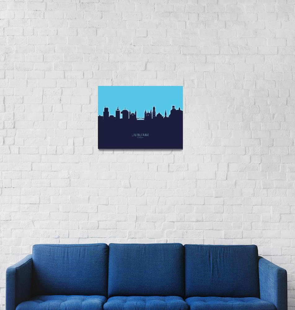 """Ljubljana Slovenia Skyline""  (2020) by ModernArtPrints"