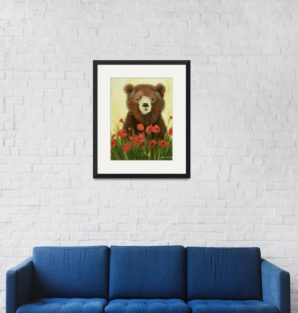 """""""Bear In Poppies""""  (2010) by rebeccamudd"""