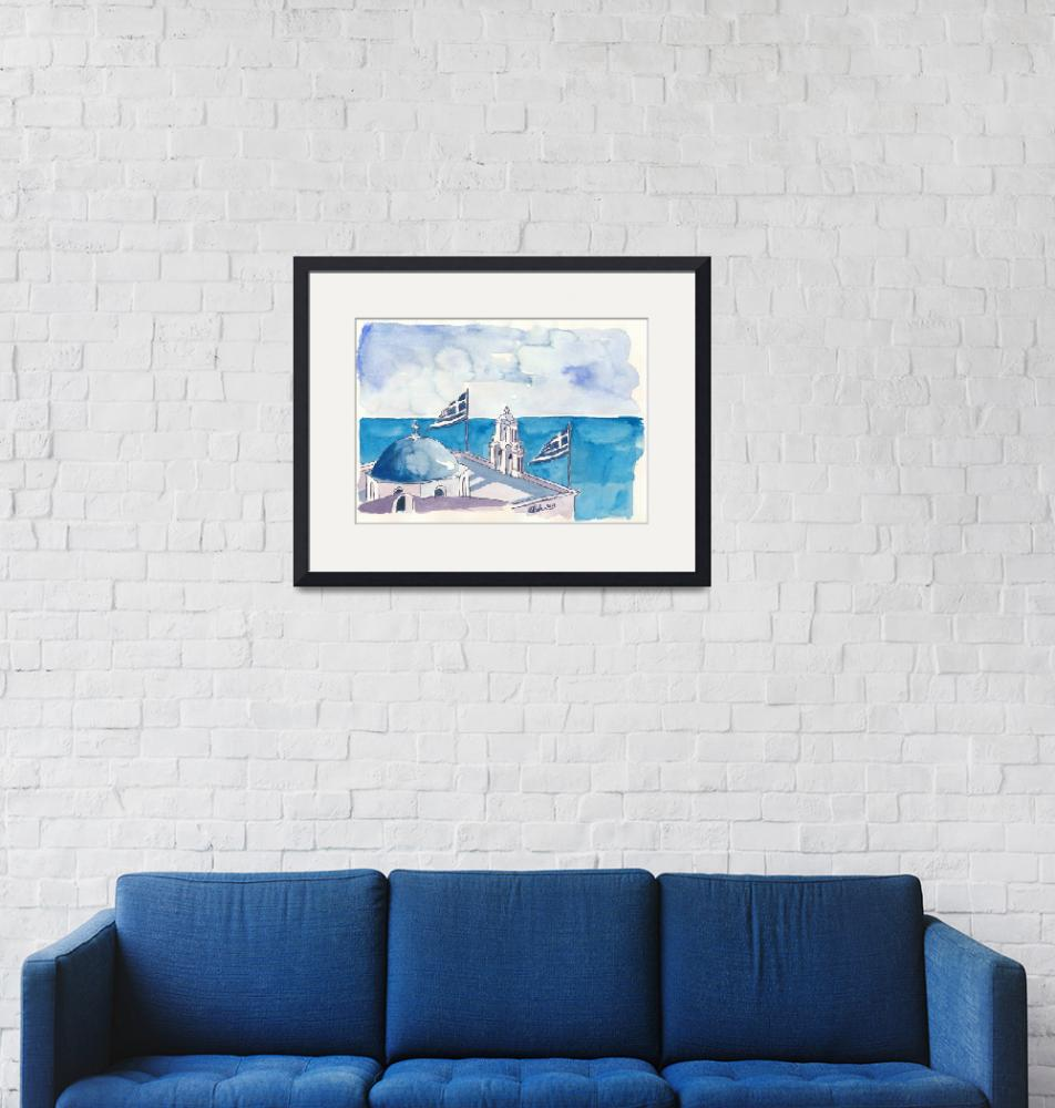 """""""Santorini Oia Greece View with Flags""""  (2018) by arthop77"""