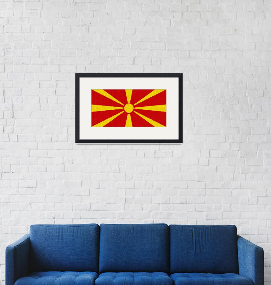 """""""Flag of Macedonia ,  County Flag Painting ca 2020""""  by motionage"""