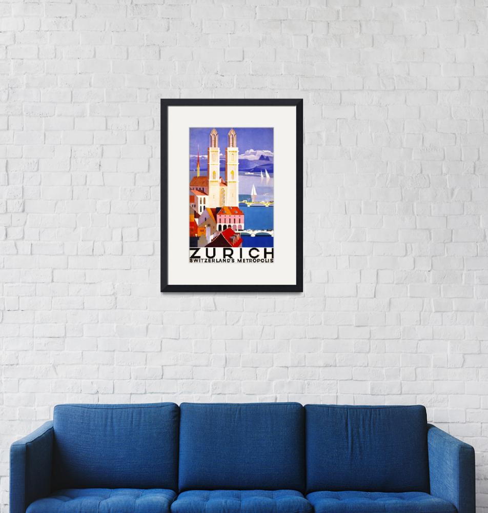 """Zurich, Switzerland Vintage Travel Poster""  by FineArtClassics"