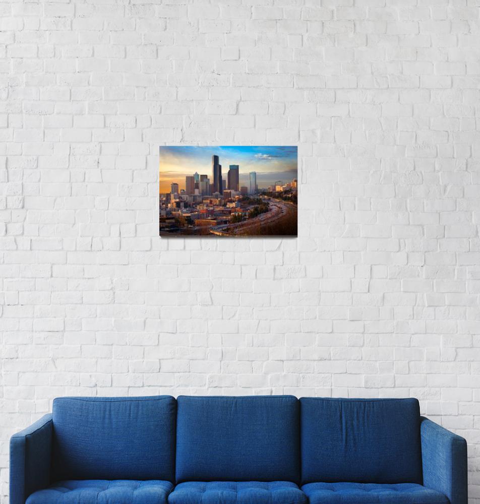 """Seattle Skyline at Dusk""  (2011) by Inge-Johnsson"
