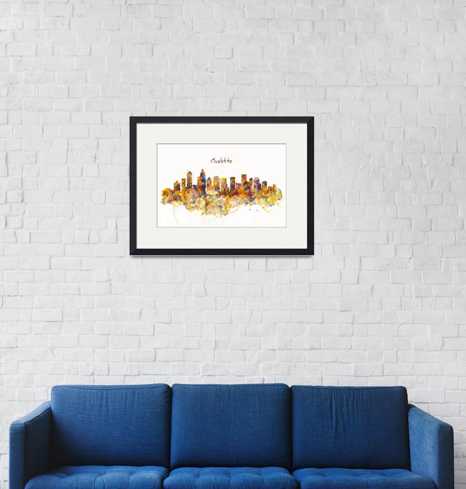 """""""Charlotte Watercolor Skyline"""" (2016) by MarianVoicu"""