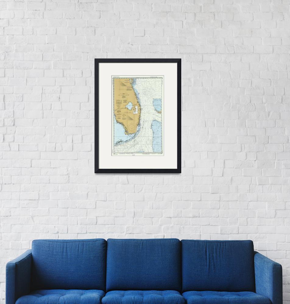 """Florida Atlantic Coast Map (1982)"" by Alleycatshirts"