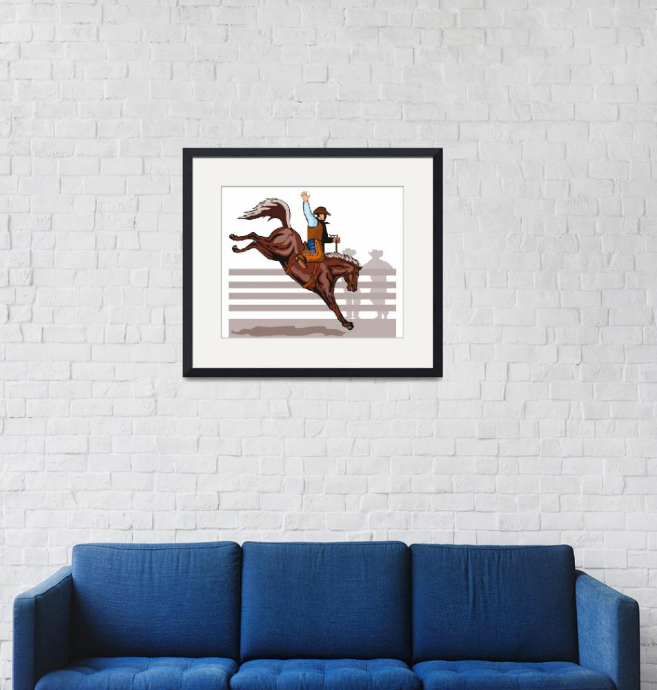 """Rodeo Cowboy Riding Bucking Bronco Horse""  (2013) by patrimonio"