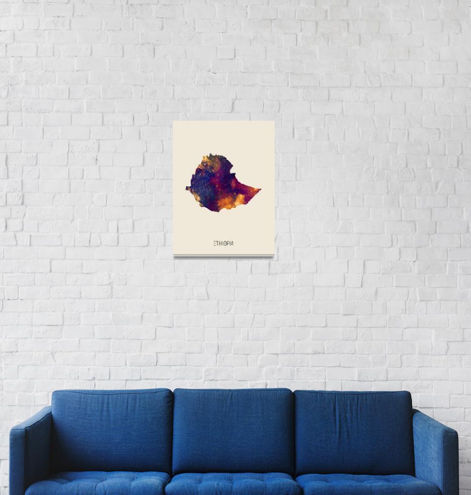 """Ethiopia Watercolor Map""  (2019) by ModernArtPrints"
