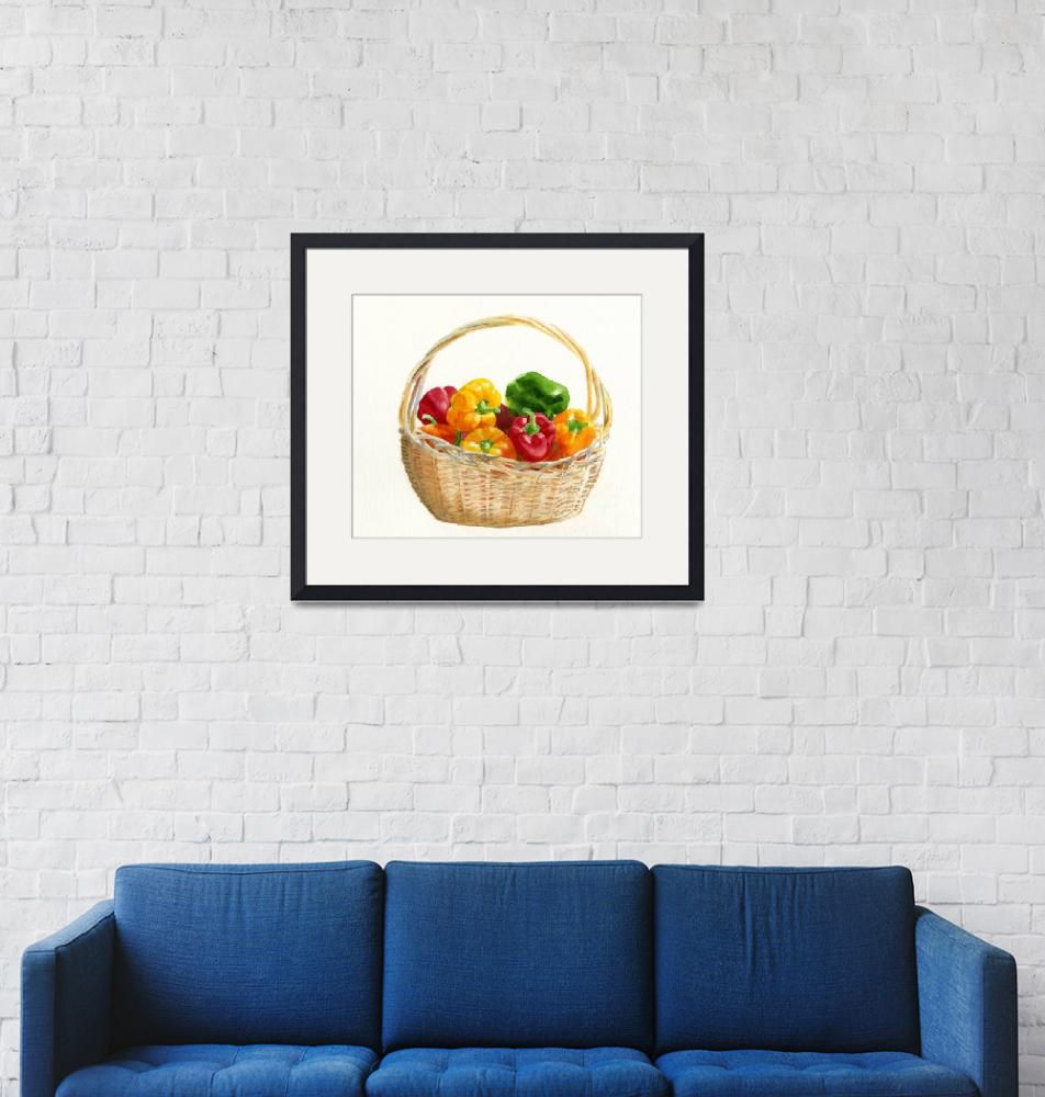 """""""Basket of Peppers""""  (2012) by Pacific-NW-Watercolors"""