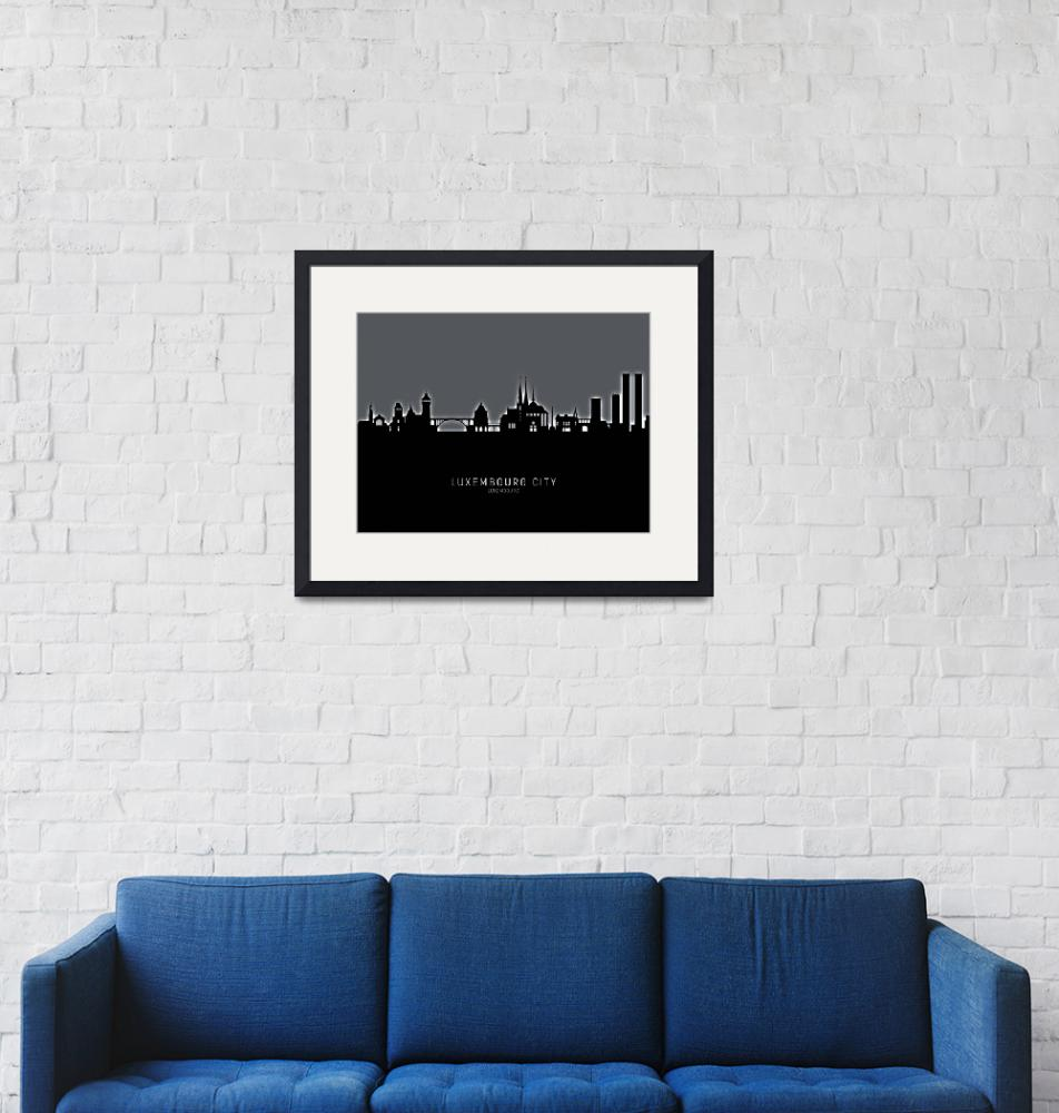 """Luxembourg City Skyline""  (2019) by ModernArtPrints"