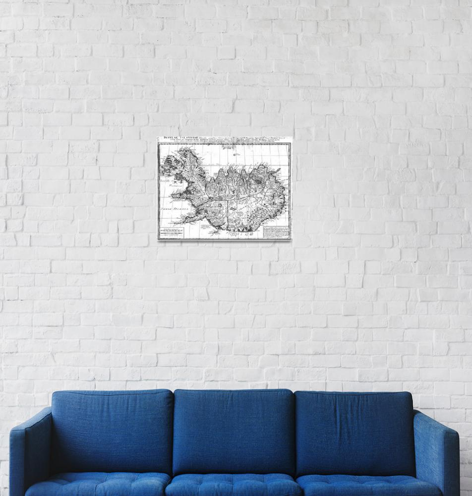 """""""Vintage Map of Iceland (1761) BW""""  by Alleycatshirts"""